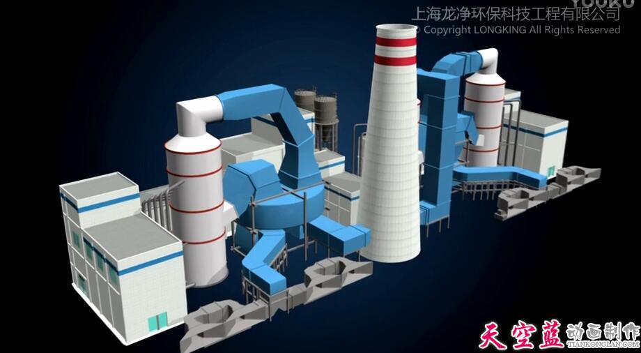上海龙净单塔双区高效脱硫技术介绍三维动画演示制作
