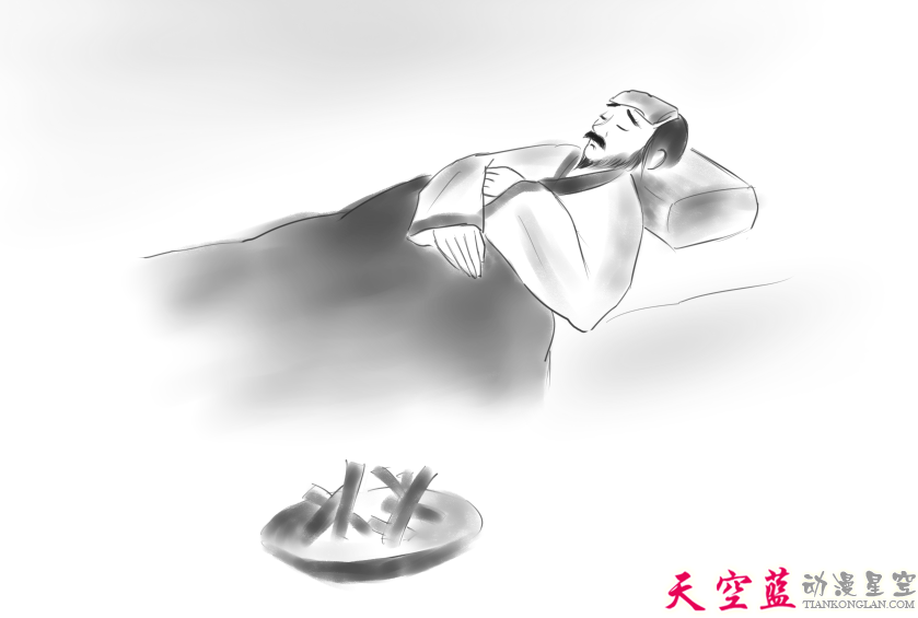 板绘国画风格:子期病卧床上