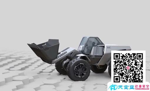 概念三维铲车演示机械运动动画展示